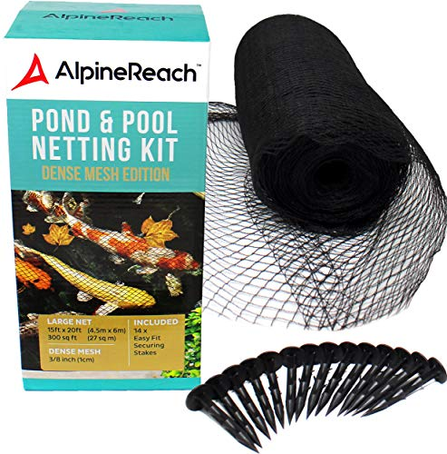 AlpineReach Koi Pond Netting Kit 15 x 20 ft Black Heavy Duty Woven Fine Mesh Net Cover for Leaves – Protects Koi Fish from Blue Heron Birds, Cats & Predators – Reusable & Stakes Included