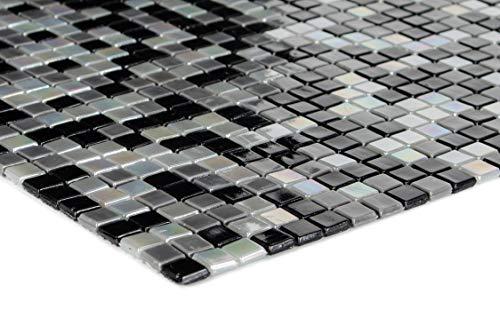Mosaico de cristal mini azulejos negro, gris y blanco para pared, suelo, ducha, baño, cocina, 1 alfombrilla | ES-78271_b