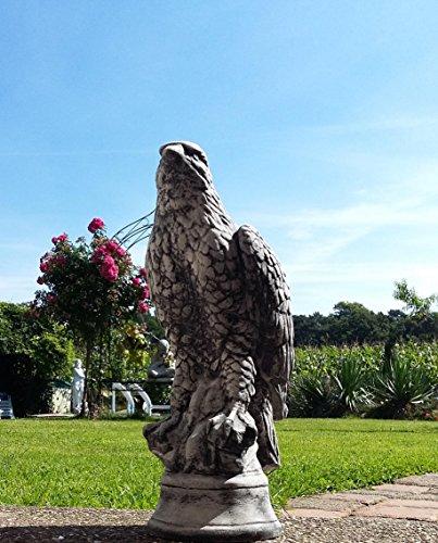 7,5 Kg schwere Steinfigur Adler Falke Vogel Greifvogel Steinguss Raubvogel Gartenfigur Frostfrei zu Weihnachten verschenken