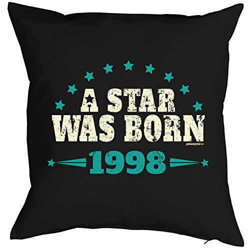 Cadeau-idee voor 18 verjaardagskussen A star was born 1998 kussen voor 18e verjaardag voor 18-jäirge sierkussens