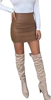 Sexy Bandge Leather High Waist Pencil Bodycon Hip Short Mini Skirt for Women