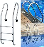 MUANSER Three Tread Stainless Steel Pool Ladder, Entry and Exit System for In-Ground Swimming Pools, 1.90-Inch...