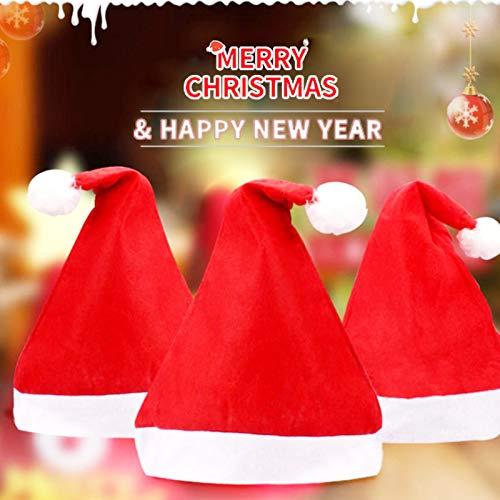 Gorros navidad, 3piezas Gorro Navidad adultos,Gorro Papá Noel de Felpa,Usado para Navidad decoración año Nuevo, Unisex Suave Gorro Cómod Rojos Navidad Sombrero
