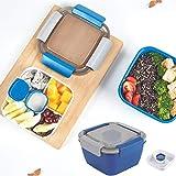 Qisiewell Bento Box - Contenitore per il pranzo, insalatiera, 3 scomparti per insalata e snack con contenitore per condimenti a prova di perdite, adatto al microonde, 1500 ml (blu scuro)