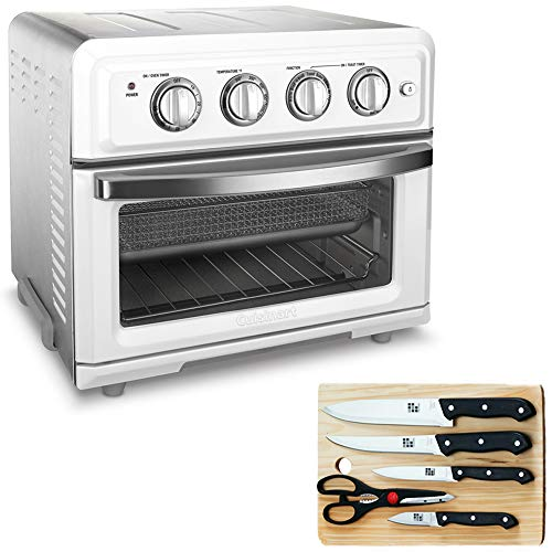 Cuisinart TOA-60W Convection Toaster Oven Air Fryer with Light White Bundle wtih Home Basics 5-Piece Knife Set with Cutting Board