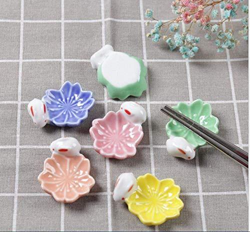 LXZSP Soportes de cerámica para Palillos, Estilo japonés, Estilo japonés, con Flores de Cerezo, Soporte para Palillos, Cuchara, Tenedor, vajilla, Cuchara, Color Mezclado, 10 Piezas