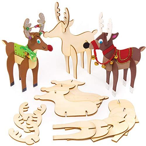 Baker Ross AT176 3D Rentiere aus Holz (6 Stück) Bastelset für Kinder zu Weihnachten, Sortiert