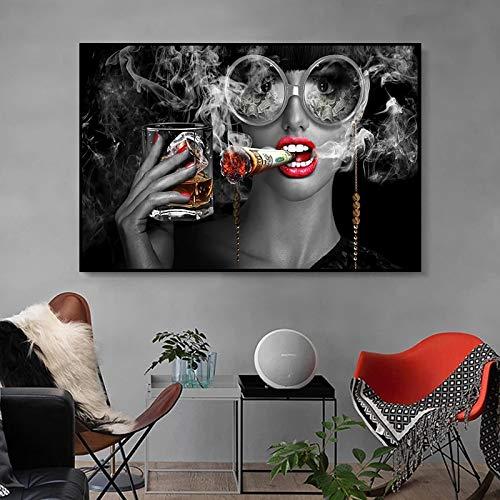 Mujer con labios rojos, pintura en lienzo para fumar, arte de pared pop creativo, póster, sala de estar modular, decoración del hogar, mural, marco de 60x90 cm