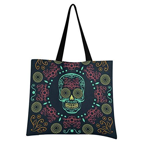 Tote bag in tela per Halloween da donna – Dead Day Dia Muertos Halloween messicano teschio grande riutilizzabile borsa della spesa con tasca interna