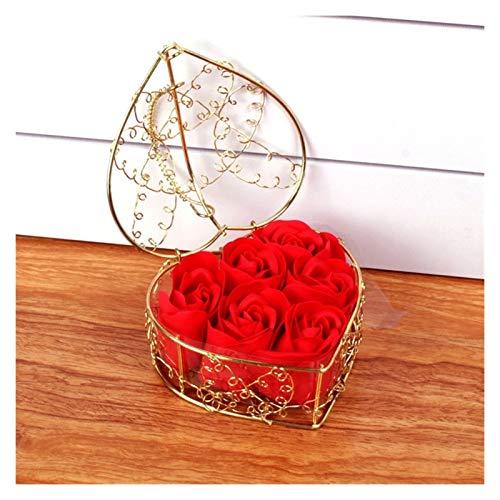 WDFDZSW Romántico Día de San Valentín Regalo Cesta de Hierro en Forma de corazón con 6 Caja de Regalo de Flores de jabón de Rosa Mejor Regalo (Color : G)