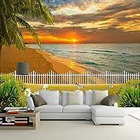 XIAOHUKK 3D写真の壁紙美しい夕日の海辺のビーチPVC粘着壁紙装飾壁画ビニール壁紙家の装飾