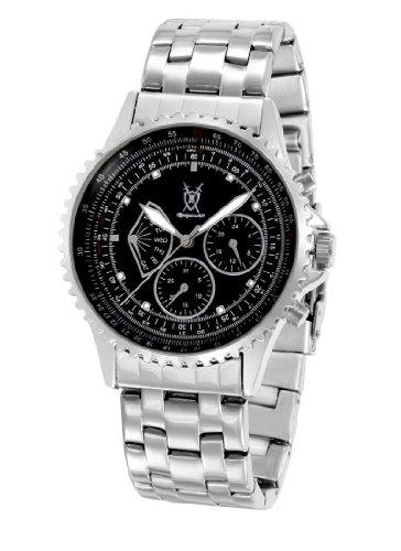 Konigswerk Mens Watch Stainless Steel Bracelet Black Dial Multifunction Day Date Reloj Hombres SQ201481G