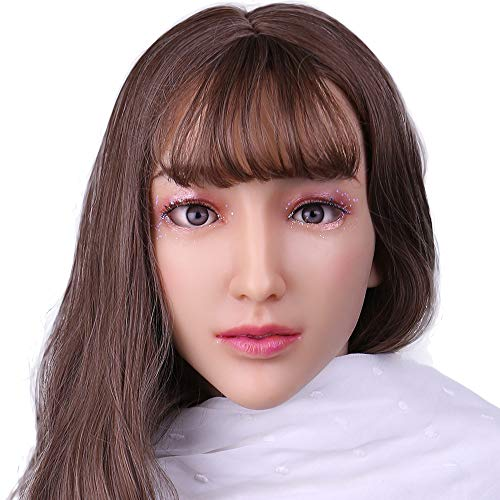 Silicone Realistic Female Head Mask Hand-Made Face for Crossdresser Transgender Costumes Disguise Drag Queen