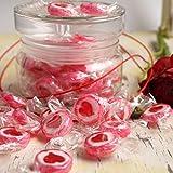 500 g Rocks Herz-Bonbons – süße Tisch-Deko zu Hochzeit Taufe Valentinstag Muttertag Kommunion – Süßigkeiten Großpackung zum Naschen – Rot - 2