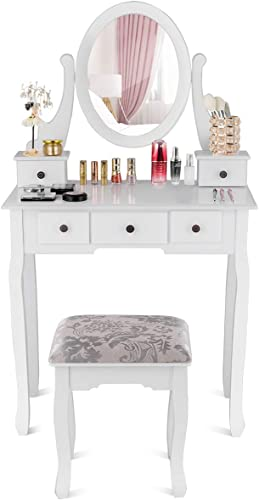 new arrival Giantex Vanity Set high quality with Oval Mirror and 5 Drawers, Makeup Dressing Table with Cushioned Stool, Modern Bedroom Bathroom Dressing Table Set, outlet sale Girls Women Makeup Organizer Table, White sale