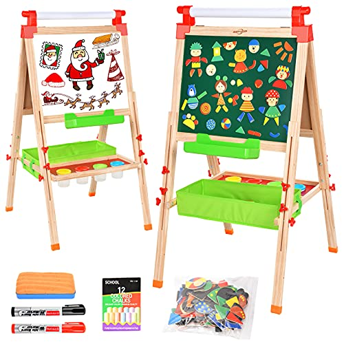 BATTOP Easel for Kids with Paper Roll,Adjustable Wooden Art Easel Toddlers,All-in-one Deluxe Standing with Chalkboard & Whiteboard,Double Sided Childrens Homeschool Easel Toy with Paint Cups
