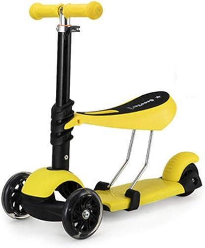 Trougetinette Scooter pour Enfants, Scooter pour débutant réglable en Hauteur à 3 Roues avec siège réglable, T-Handlebarl pour Enfants de 2 à 12 Ans (Couleur   jaune)