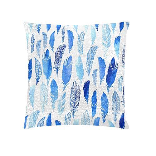 Fundas de almohada Tamaño estándar Pluma azul Estilo mágico Lentejuelas Funda de almohada para...