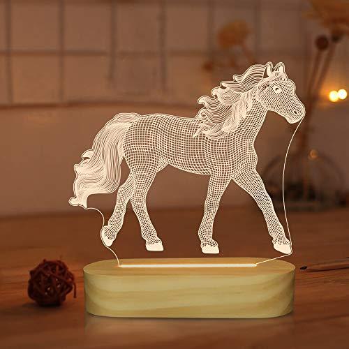 Regalos para amantes de los caballos, luz de noche de caballo óptico con ilusión 3D, lámpara de mesa de escritorio blanca cálida LED para decoración de dormitorio de niñas y niños
