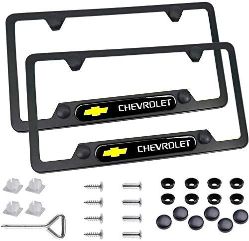 Carsport 2 Pcs Premium Black Aluminum Alloy License Plate Frame fit Chevy Tag License Plate, Applicable to Standard US License Plate Cover, Accessories Included