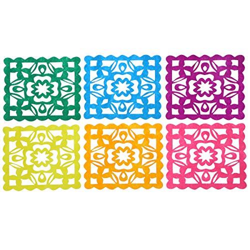 TOYANDONA 6pcs Papier découpes bannière Mexicaine en Plastique Papel Picado Decor pour Hawaii Fiesta fête à thème Mexicain Fournitures Festival (Couleur mélangée)