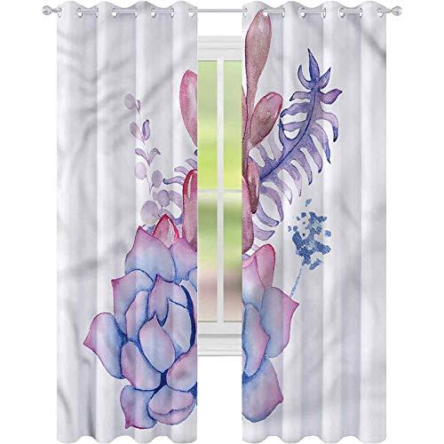 jinguizi Cortina para ventana con ramillete suculento ramillete de boda, 42 x 84, cortinas opacas para dormitorio de los niños