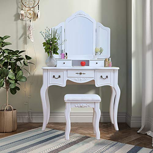 Best Bargain Modern Vanity Table Set Cushioned Stool - NXKang Vanity Makeup Table With Mirror Wooden...