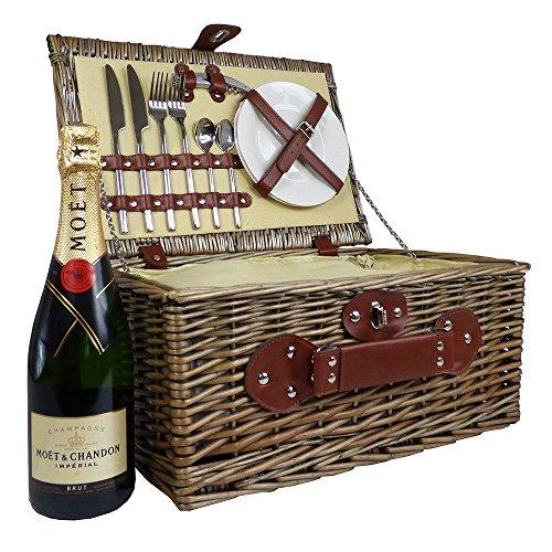 Weiden Picknickkorb Mit Moet Chandon Champagner Und Integrierter Kühltasche - Die Geschenk Idee Zur Hochzeit, Geburtstag, Jubiläum