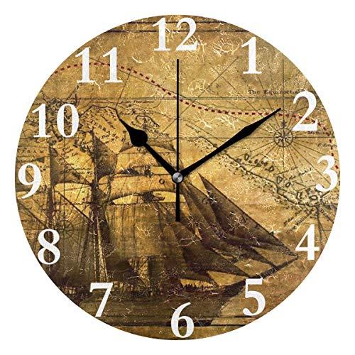 dfegyfr Wanduhr Antike Karte Kompass Pirat Stille Runde Wanduhr Dekorative Leicht zu Lesen für...