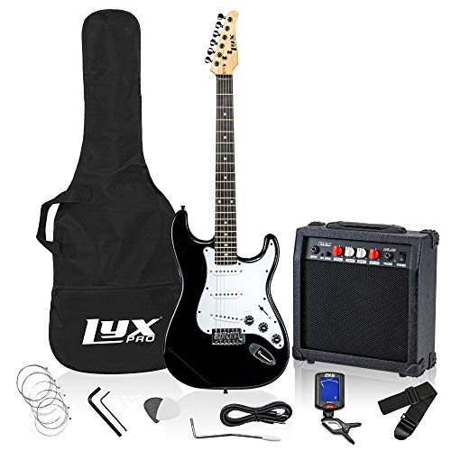 LyxPro 39 inch Electric Guitar Kit Bundle with 20w Amplifier, All Accessories, Digital Clip On Tuner, Six Strings, Two Picks, Tremolo Bar, Shoulder Strap, Case Bag Starter kit Full Size - Red