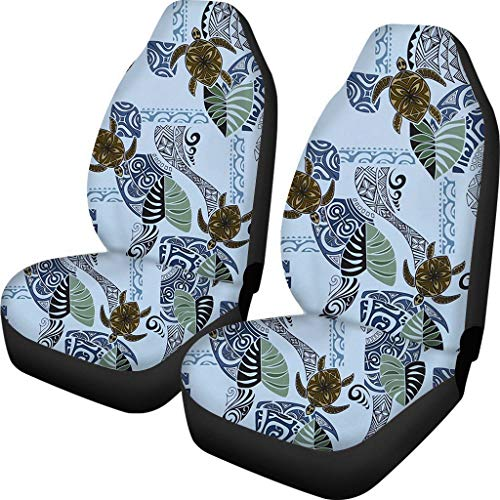 JOAIFO 2pcs Vintage Palm Tree Leaf with Ocean Animal Turtle Car Seat Covers Underwater Life Hawaiian Style Auto Front Seat Protector, Universal Fit Sheet, Front Seat Only