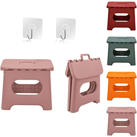 Pink Use in The Kitchen QILESUNNY Upgrade Version Kids Step Stools,Folding Step Stool with Handle,Portable Collapsible Small Plastic Foot Stool for Kids and Adults Bathroom and Bedroom,Picnic