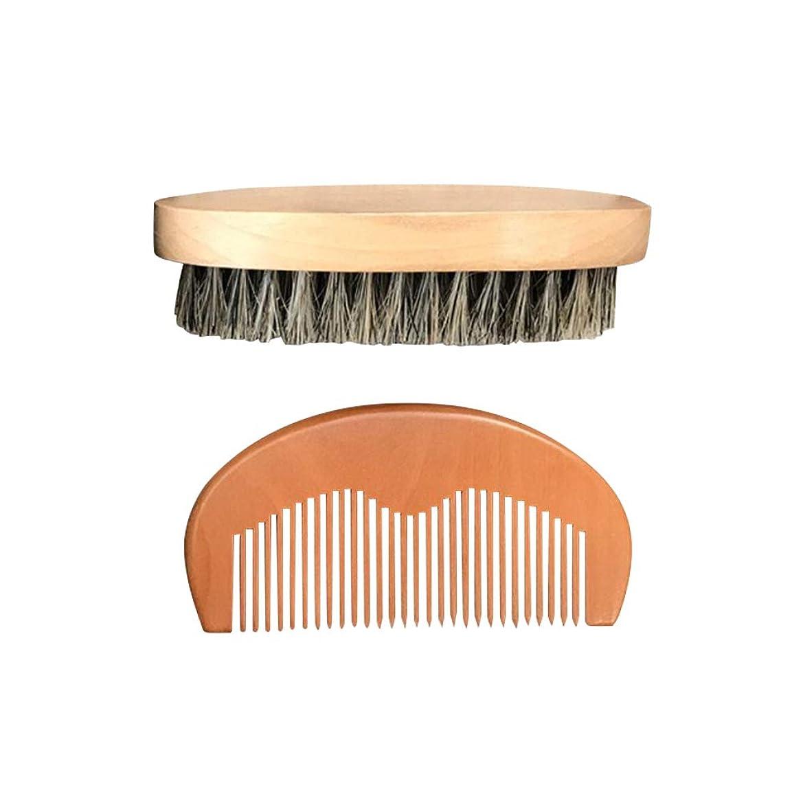 沈黙嘆願ポーチSUPVOX 2本の木製のひげの櫛およびブラシのキットの口ひげの櫛のひげのグルーミングブラシ