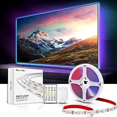 DecorStar TV LED Backlights, 14.5 FT TV Light Music Sync 32 Colors DIY Mode LED Lights for TV 55 inch 60 inch 65 inch 70 inch 75 inch USB Powered