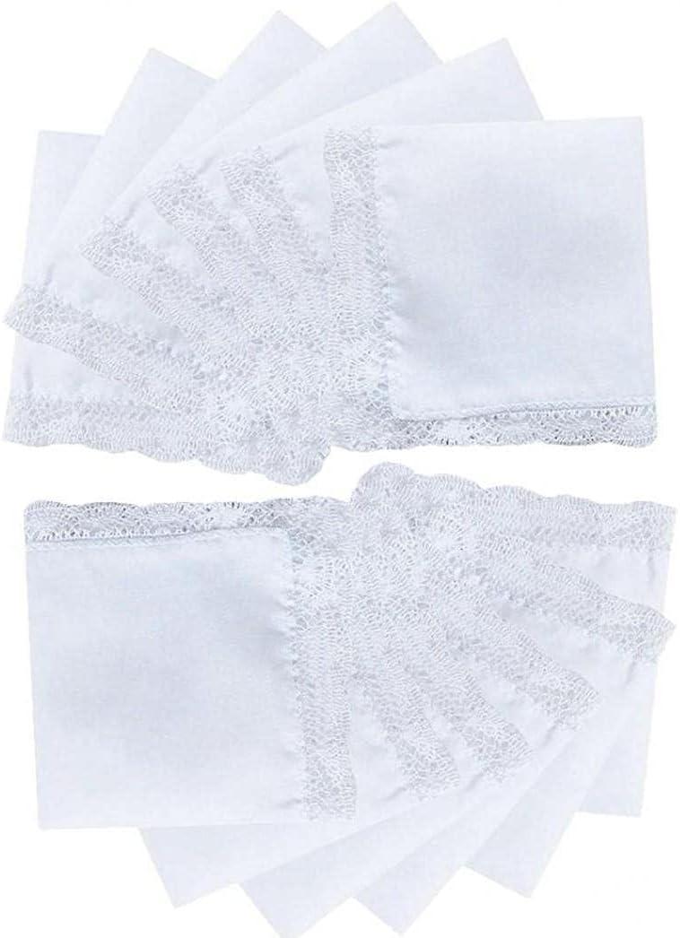 Froiny 12 Pcs White Cotton Handkerchiefs Blank Lace Hankies for Wedding, Pocket for Men & Women