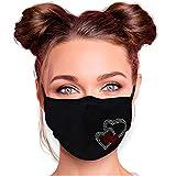 Alsino Mundschutz Waschbar Damen Strass Baumwolle Schwarz Alltagsmaske Mundschutzmaske Stoffmaske mit Glitzersteinchen verstellbar (Herzen)