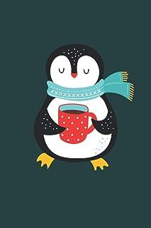 Merry Christmas: Pingüino lindo y acogedor con té cuaderno de regalos de Navidad forrado (formato A5, 15,24 x 22,86 cm, 12...
