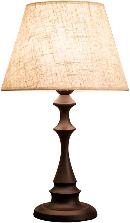 Einfachen Stil Schmiedeeisen Lampe Schlafzimmer Tischlampe, Leinen Lampe Abdeckung Nachttischlampe