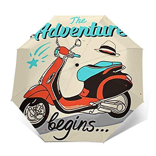 Paraguas Plegable Automático Impermeable La Aventura en Carretera Comienza en Bicicleta, Paraguas De Viaje Compacto a Prueba De Viento, Folding Umbrella, Dosel Reforzado, Mango Ergonómico