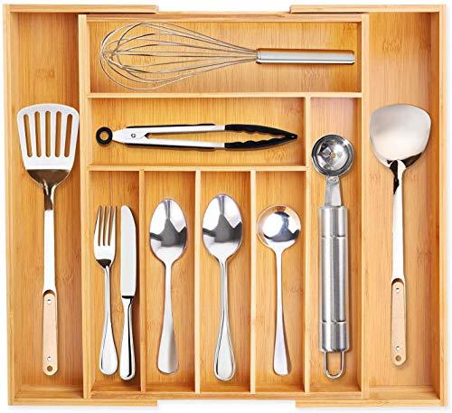 VSADEY Kitchen Drawer Organizer Bamboo Expandable Utensil Silverware Organizer, 9 Compartments...