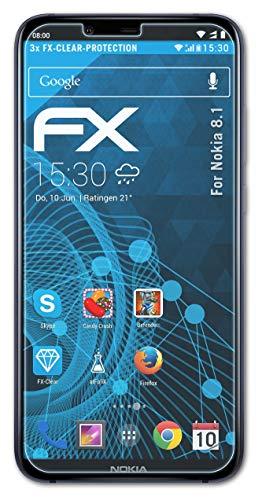 atFolix Schutzfolie kompatibel mit Nokia 8.1 Folie, ultraklare FX Bildschirmschutzfolie (3X)
