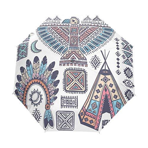 SUHETI Regenschirm Taschenschirm,Ethnische Tipi Zelte Adler Symbol Mond Sonne und Feder Chef Hut,Auf Zu Automatik,windsicher,stabil