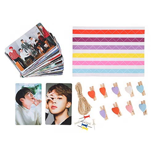 Skisneostype- Tarjetas de lomo , 100 unidades, Kpop Twice Blackpink NCT 127 IZ*ONE, bonitas tarjetas de fotos con 1 cuerda de cuerda y 8 clips, el mejor regalo para la decoracin del hogar