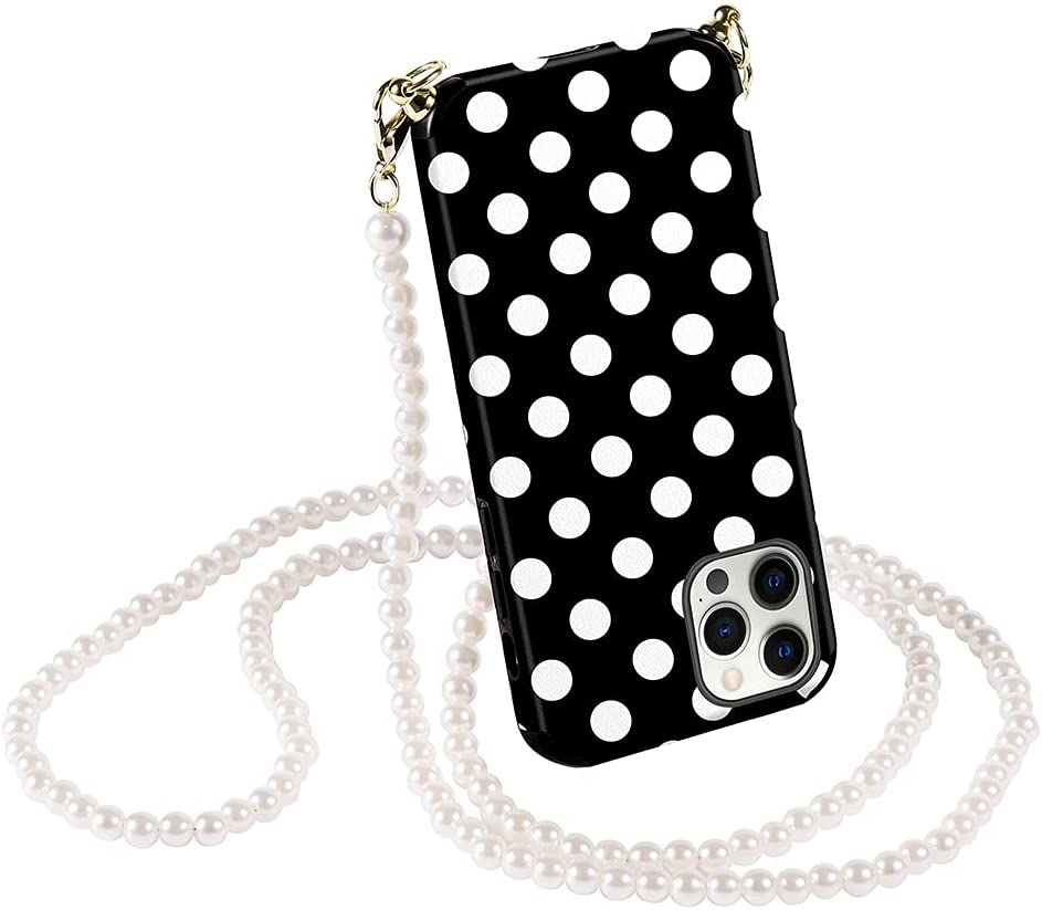 CUSTYPE Compatible with iPhone 12 Pro Max Crossbody Case Leather with Pearl Chain Polka Dots Pattern Case for iPhone 12 Pro Max 6.7 inch-Black