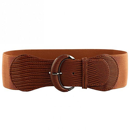 VOCHIC PU Leather Elastic Wide Belt for Women Stretch Thick Waist Belt for Dress, Brown, One size(26'-33')