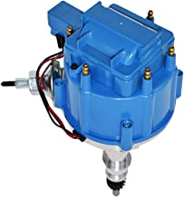 A-Team Performance HEI Complete Distributor Compatible with Ford Inline 6 65K Coil 144 170 200 250 5/16 Hex Shaft One Wire Installation Blue Cap
