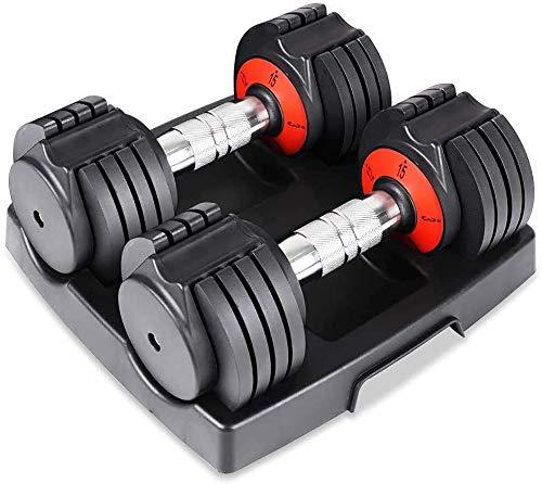 YOLEO Par de Mancuernas Ajustables de 10 Niveles de 30 LB para Hombres y Mujeres con Base de Acabado Cromado sólido para Entrenamiento físico, Entrenamiento de musculación