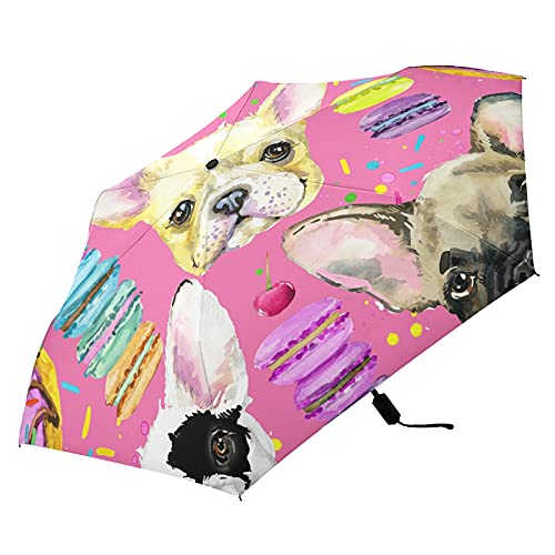 Oyihfvs Colorful French Bulldog Puppy Watercolor On Pink Folding Umbrella, Strong Lightweight Travel Rain Umbrella, Portable Compact Sun Parasol with UV Protection