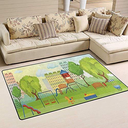 Trista Bauer Spielplatz im Park Schaukeln Spielzeug Grünflächen Rutschfester Teppich 60x39 Zoll