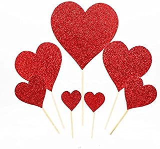 Set of 7 Assorted Sized Glitter Heart Cupcake Cake Muffin Toppers Decoration (Red)